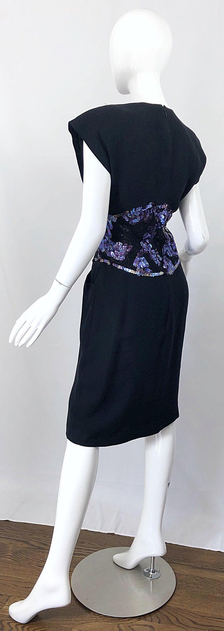 Vintage Geoffrey Beene Size 10 Avant Garde Black Purple Sequin Lace Silk Dress For Sale 3