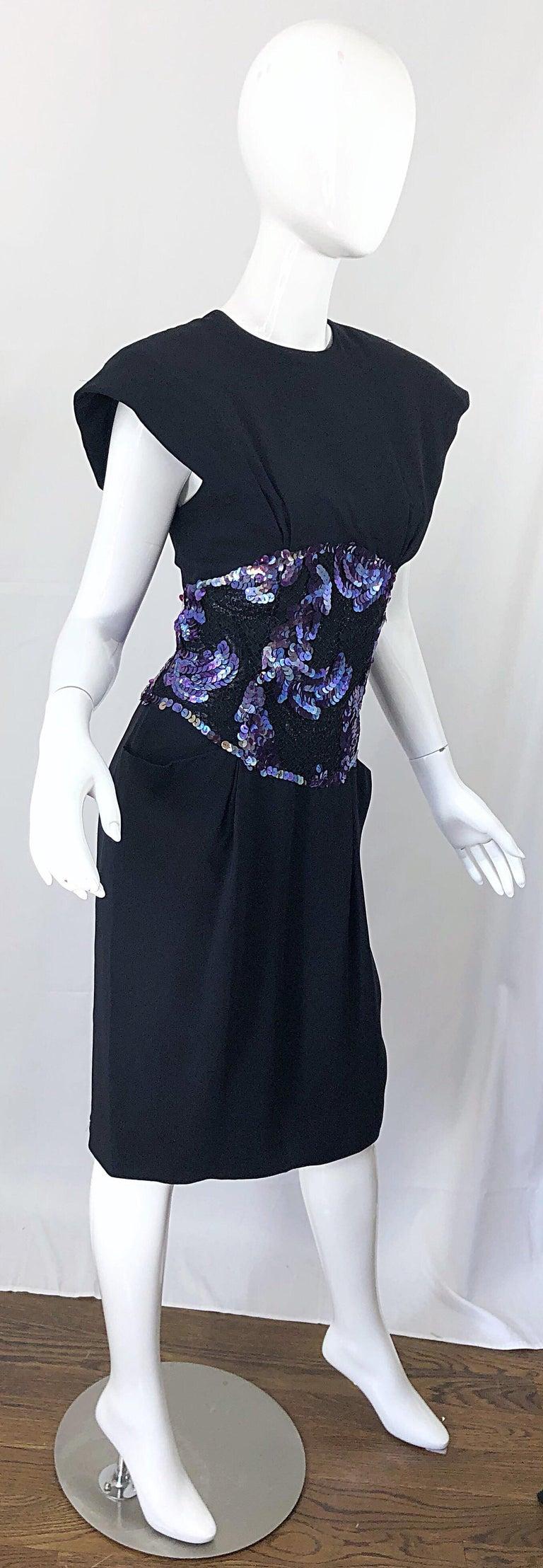 Vintage Geoffrey Beene Size 10 Avant Garde Black Purple Sequin Lace Silk Dress For Sale 4
