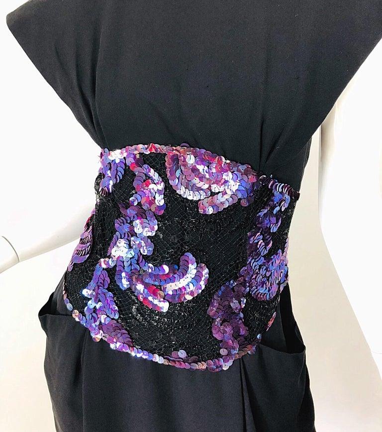 Vintage Geoffrey Beene Size 10 Avant Garde Black Purple Sequin Lace Silk Dress For Sale 5