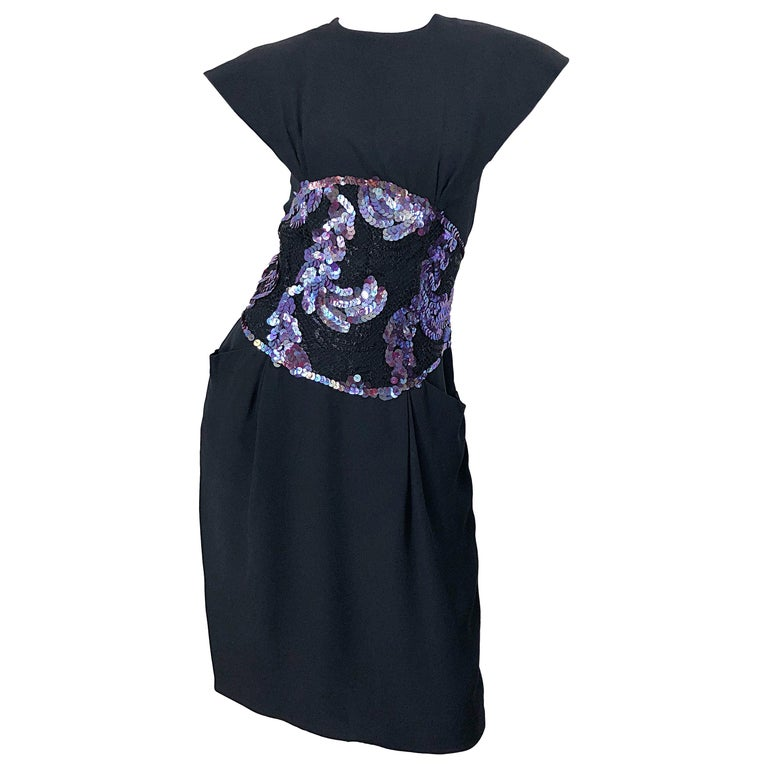 Vintage Geoffrey Beene Size 10 Avant Garde Black Purple Sequin Lace Silk Dress For Sale