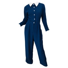 Vintage Geoffrey Beene Size 12 Navy Blue White Silk 80s Jumpsuit 1980s Nautical