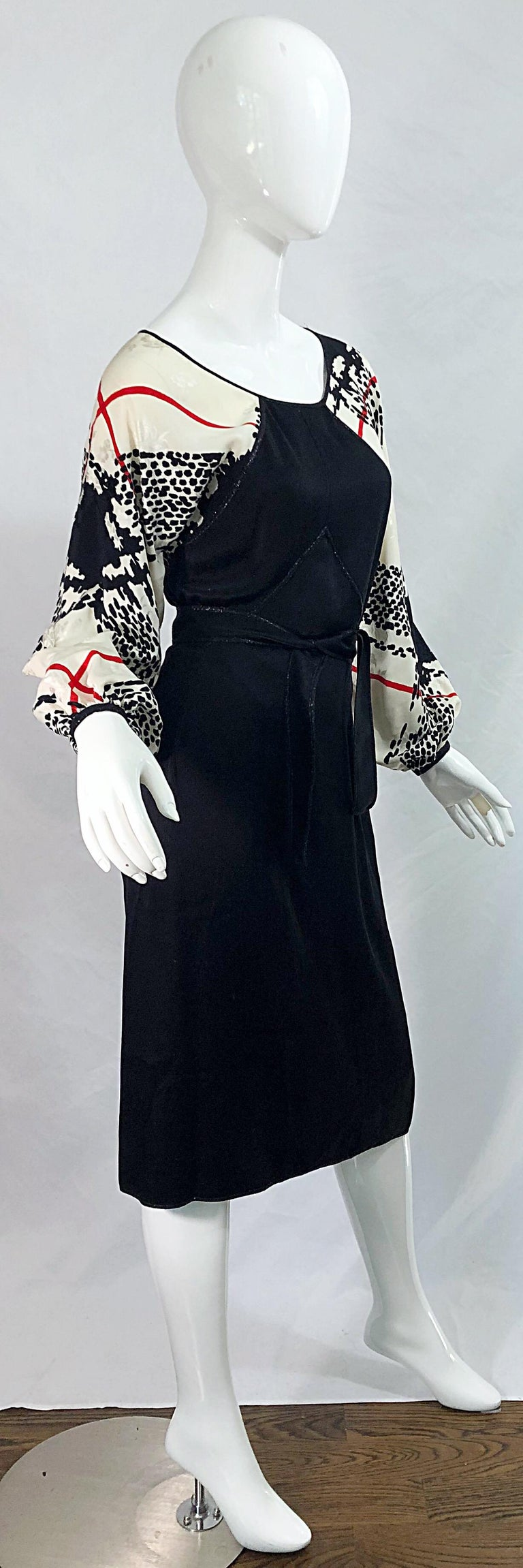 Vintage Geoffrey Beene Size 6 Houndstooth Black + White + Red Silk 80s Dress For Sale 6