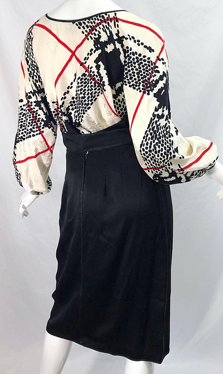 Vintage Geoffrey Beene Size 6 Houndstooth Black + White + Red Silk 80s Dress For Sale 7