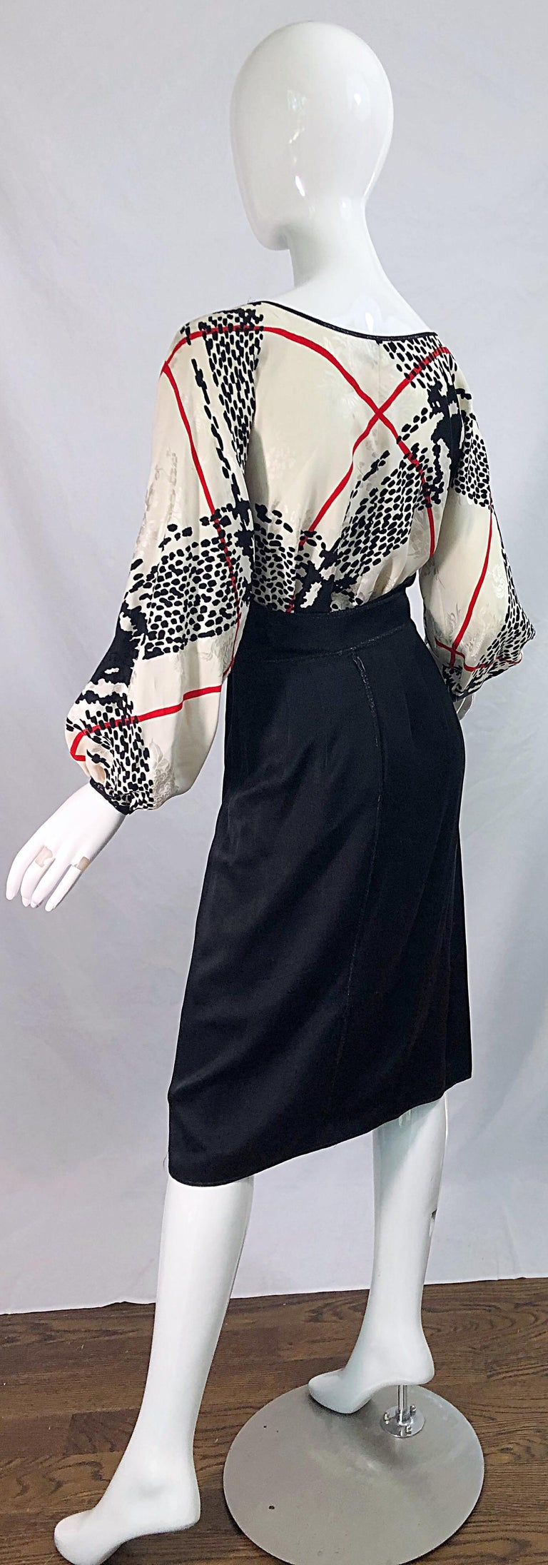 Vintage Geoffrey Beene Size 6 Houndstooth Black + White + Red Silk 80s Dress For Sale 9