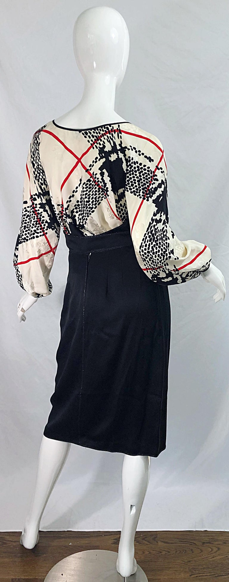 Women's Vintage Geoffrey Beene Size 6 Houndstooth Black + White + Red Silk 80s Dress For Sale
