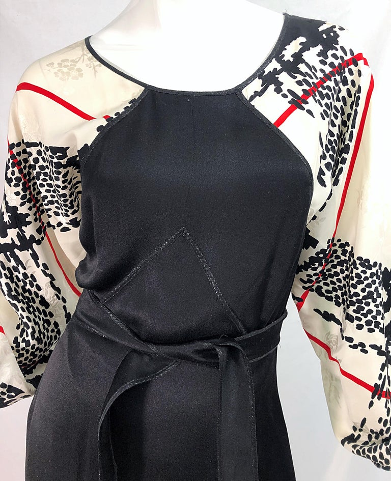 Vintage Geoffrey Beene Size 6 Houndstooth Black + White + Red Silk 80s Dress For Sale 1