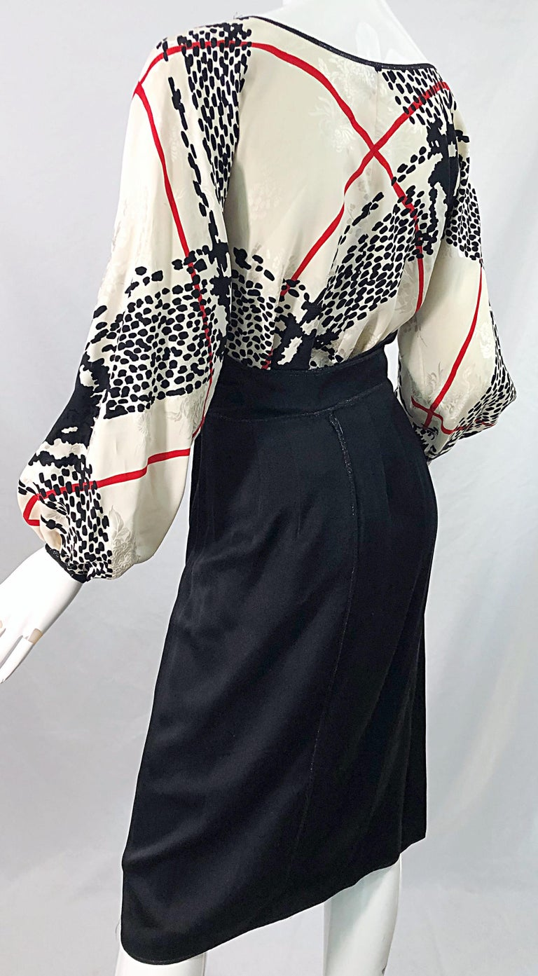 Vintage Geoffrey Beene Size 6 Houndstooth Black + White + Red Silk 80s Dress For Sale 4
