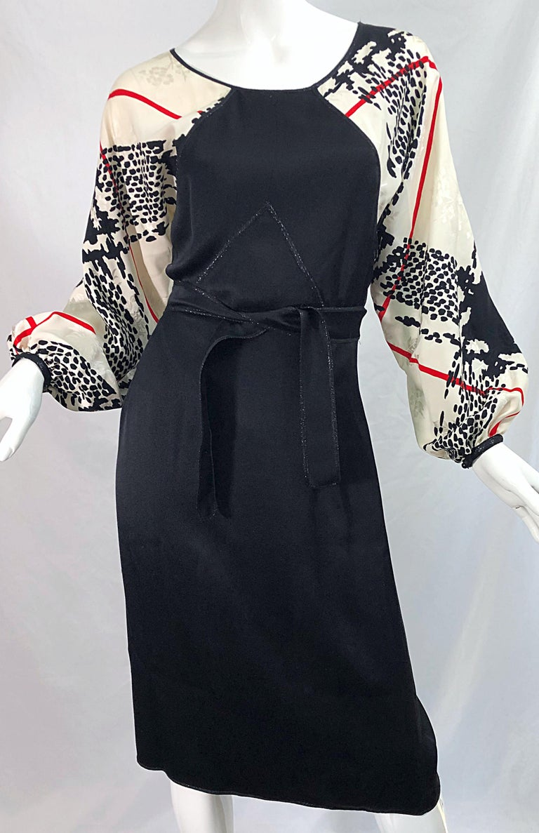 Vintage Geoffrey Beene Size 6 Houndstooth Black + White + Red Silk 80s Dress For Sale 5