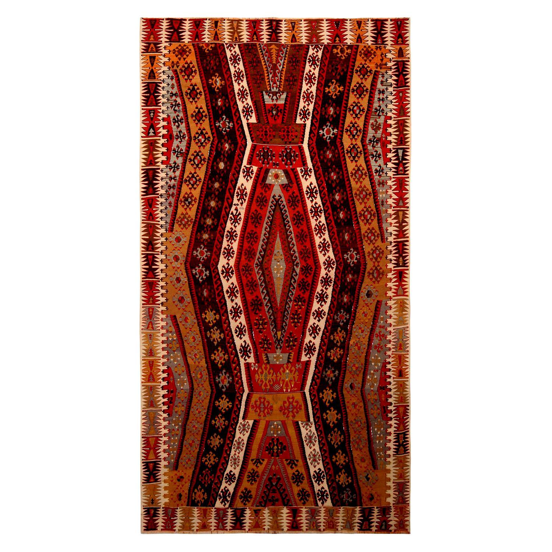 Vintage Geometric Beige Brown and Red Wool Kilim Rug
