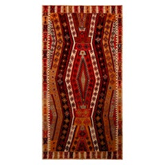 Vintage Geometric Beige Brown and Red Wool Kilim Rug