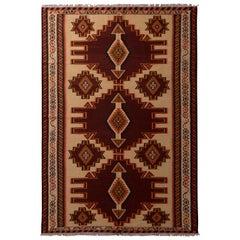Vintage Geometric Beige Brown and Red Wool Persian Azerbaijan Kilim