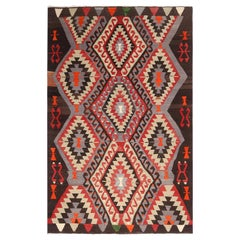 Vintage Geometric Black and Red Wool Kilim Rug with Blue Background