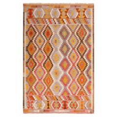 Vintage Geometric Blue and Green Wool Kilim Rug with Multi-Color Accents