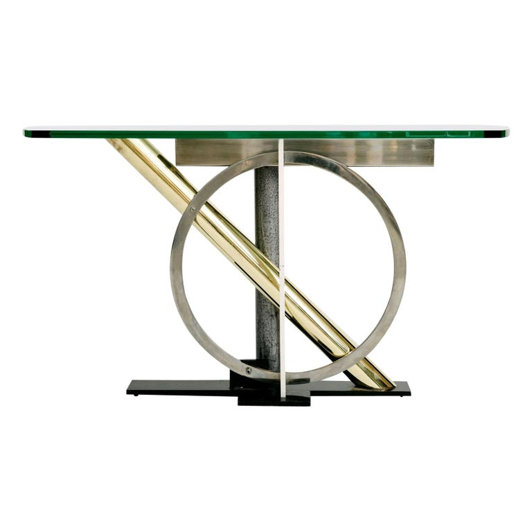 Vintage Geometric Console Table by Kaizo Oto For Sale