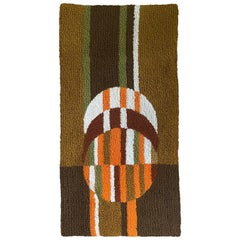 Vintage Geometric Czech Carpet, Tapestry, circa 1970s