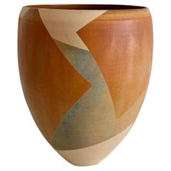 Vintage Geometric Earthtone Studio Pottery Vase Signed