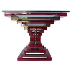 Vintage Geometric Enameled Metal Center Table with Glass Top