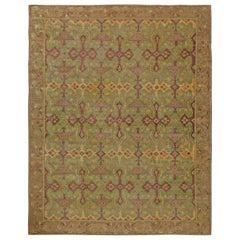 Vintage Geometric Green, Purple Chinese Handmade Wool Rug