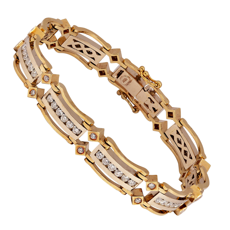 Vintage Geometric Link Diamond 18k Two Tone Yellow and White Gold Bracelet