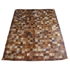 Vintage Geometric Patchwork Cowhide Leather Rectangular Carpet Area Rug