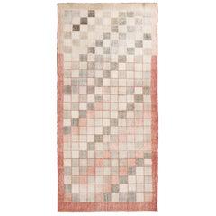 Vintage Geometric Pink and Green Wool Rug