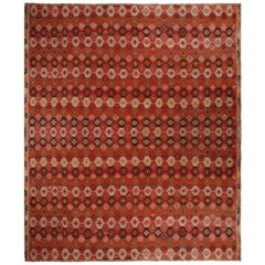 Vintage Geometric Red and Brown Wool Kilim Rug with Multicolor Accents