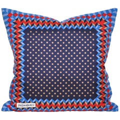 Vintage Geometric Red Blue YSL Fabric Cushion with Irish Linen Pillow