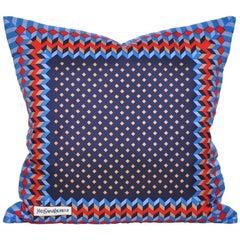 Vintage Geometric Red Blue YSL Fabric Cushion with Irish Linen Pillow