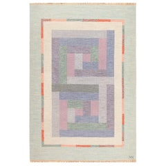 Vintage Geometric Signed NN Swedish Scandinavian Rug. Size: 5 ft 5 in x 8 ft