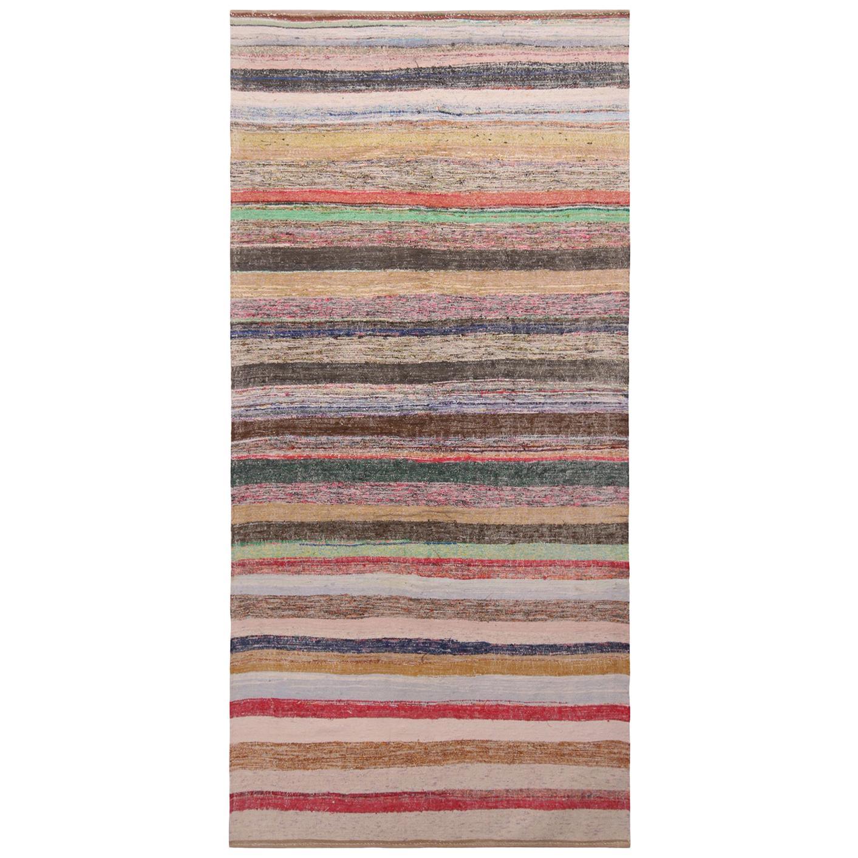 Vintage Geometric Striped Beige Brown and Multi-Color Wool Kilim Rug