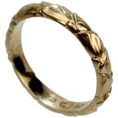 Vintage Georg Jensen 18 Karat Gold Band Ring Model No. 1028A with a Leaf Design