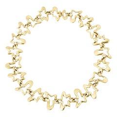 Vintage Georg Jensen 18 Karat Yellow Gold Splash Necklace Henning Koppel