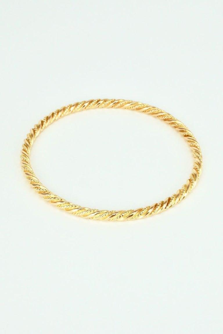 Modernist Vintage Georg Jensen 18 Karat Yellow Gold Bangle Bracelet, 1950s For Sale