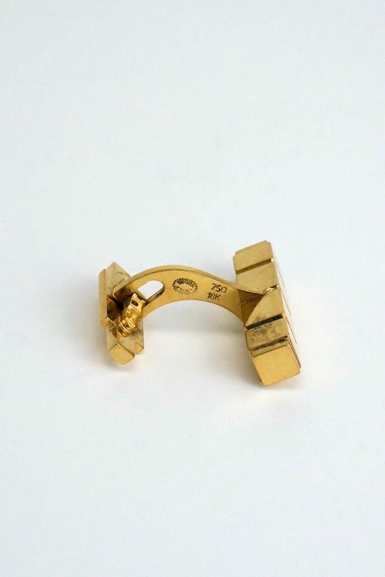 Modernist Vintage Georg Jensen 18 Karat Yellow Gold Cufflinks, Design 1064C Henry Pilstrup For Sale