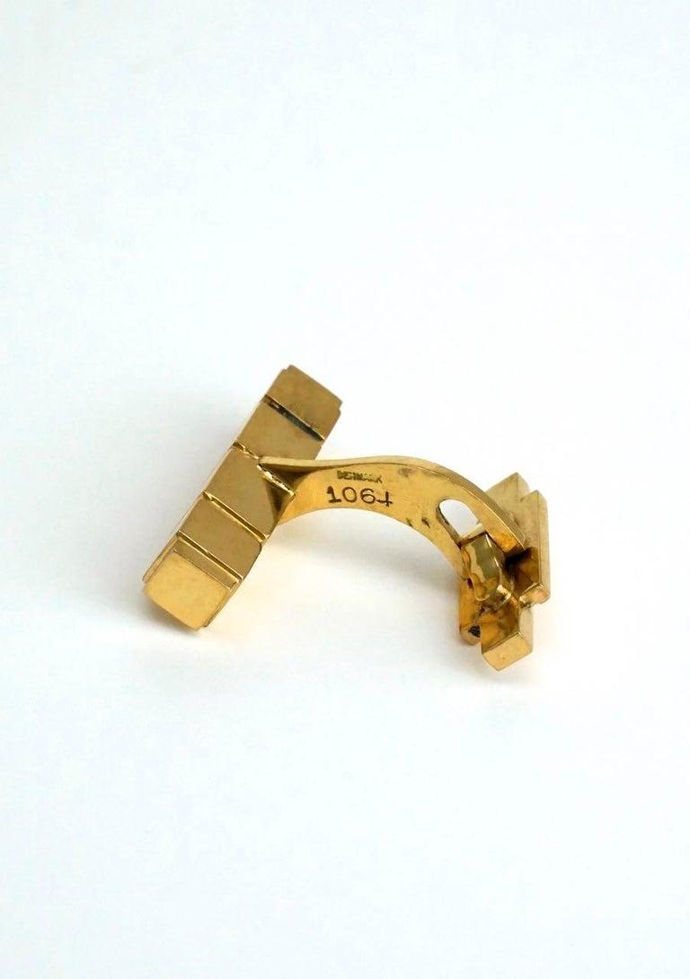 Vintage Georg Jensen 18 Karat Yellow Gold Cufflinks, Design 1064C Henry Pilstrup In Good Condition For Sale In Sydney, NSW