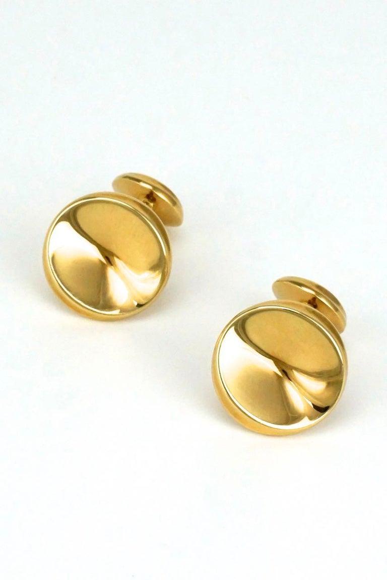 Modernist Vintage Georg Jensen 18 Karat Yellow Gold Cufflinks, Design 1074C Nanna Ditzel For Sale