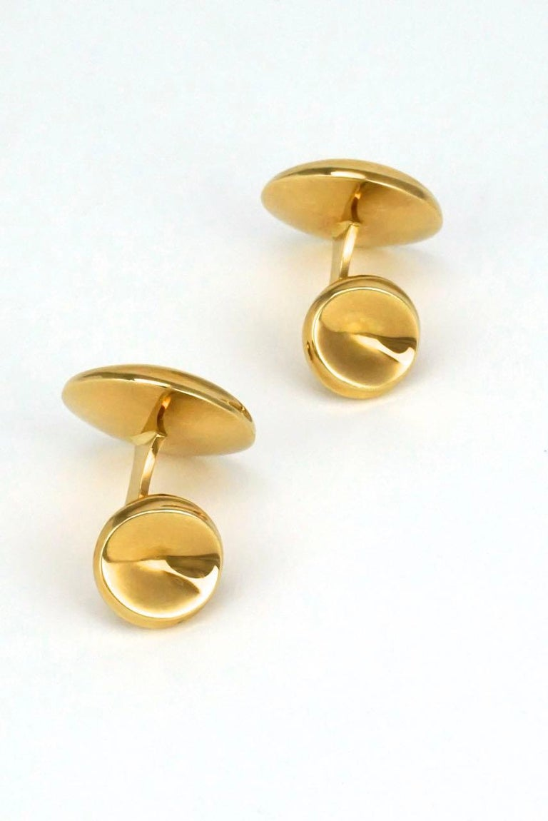 Men's Vintage Georg Jensen 18 Karat Yellow Gold Cufflinks, Design 1074C Nanna Ditzel For Sale