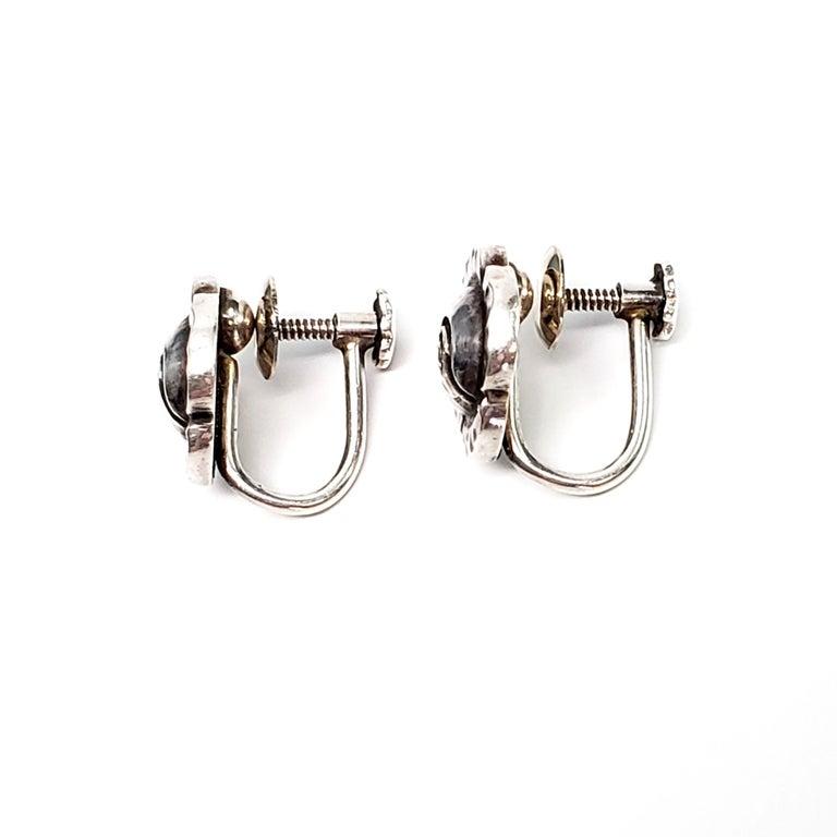Vintage Georg Jensen Denmark Sterling Silver Flower Screwback Earrings In Good Condition For Sale In New Milford, CT