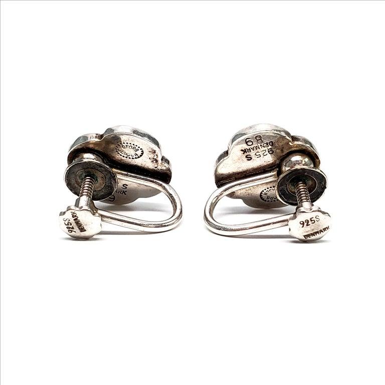 Women's Vintage Georg Jensen Denmark Sterling Silver Flower Screwback Earrings For Sale