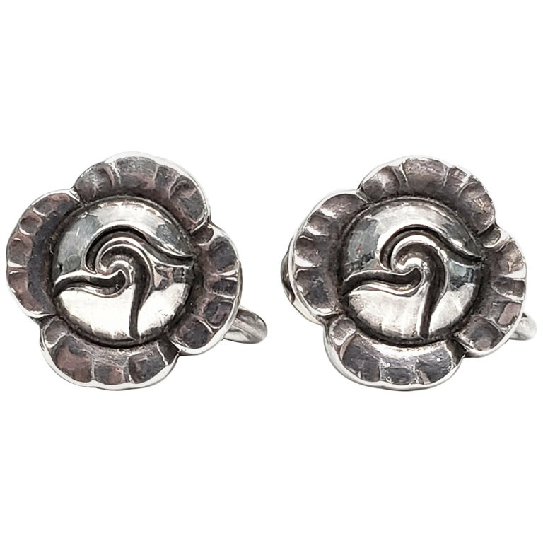 Vintage Georg Jensen Denmark Sterling Silver Flower Screwback Earrings For Sale