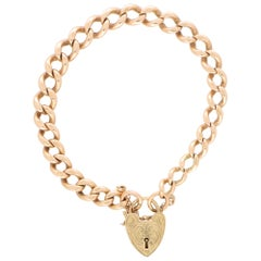 Vintage Georg Jensen Flat Curb Heart Lock Charm Bracelet in 9k Rose Gold