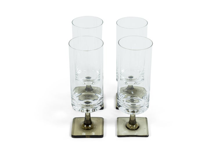 Mid-Century Modern Vintage Georg Jensen for Rosenthal Crystal Berlin/Linear Smoke Glass Set For Sale