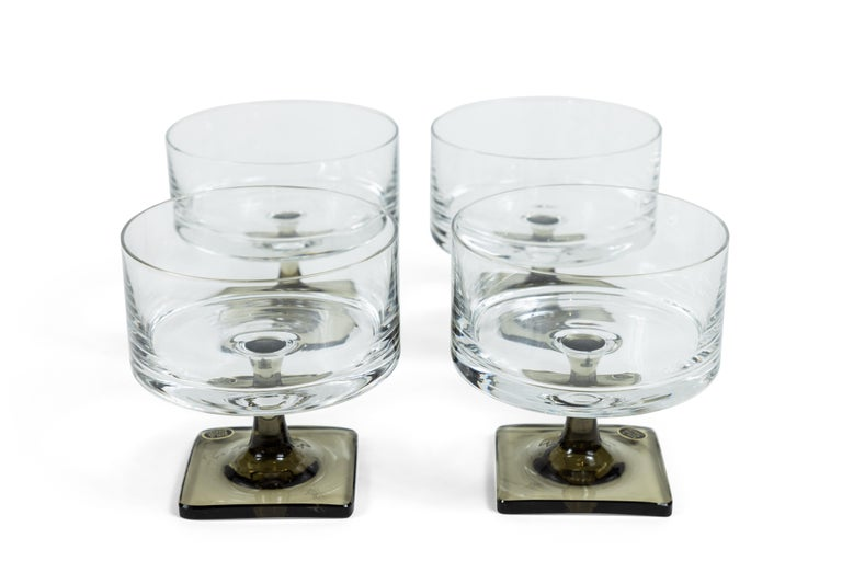 Vintage Georg Jensen for Rosenthal Crystal Berlin/Linear Smoke Glass Set In Excellent Condition For Sale In Pasadena, CA