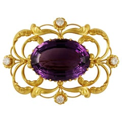 Vintage Georg Jensen Gold Brooch 21 Amethyst and Diamonds