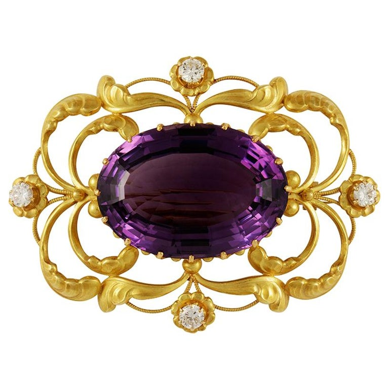 Vintage Georg Jensen Gold Brooch 21 Amethyst and Diamonds For Sale