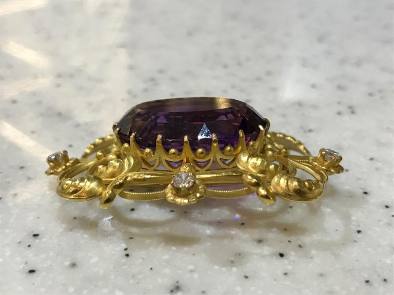 Art Nouveau Vintage Georg Jensen Gold Brooch 21 Amethyst and Diamonds For Sale