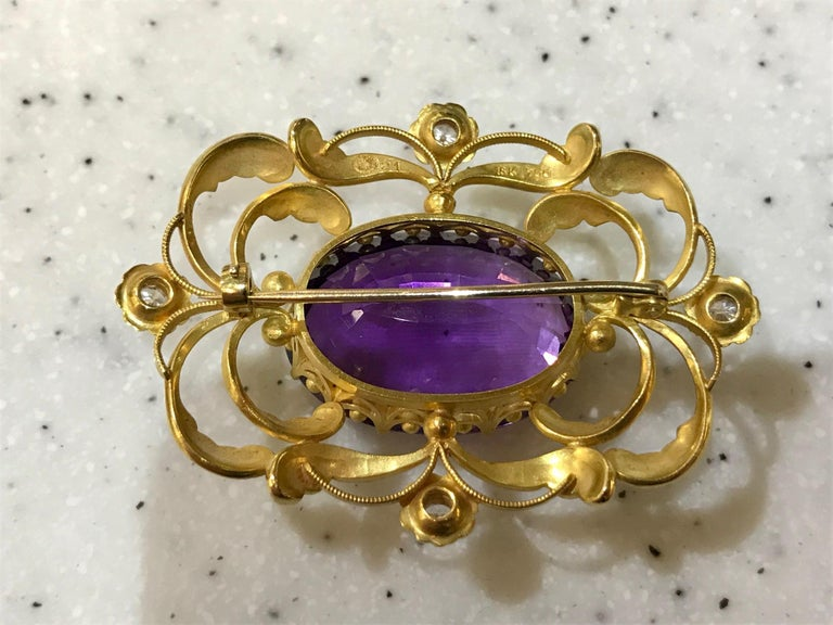 Oval Cut Vintage Georg Jensen Gold Brooch 21 Amethyst and Diamonds For Sale