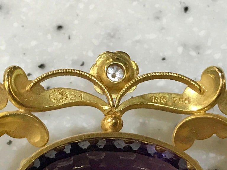 Women's or Men's Vintage Georg Jensen Gold Brooch 21 Amethyst and Diamonds For Sale