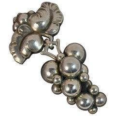 Vintage Georg Jensen Sterling Silver # 217b Moonlight Grapes Brooch