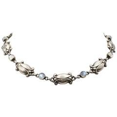 Vintage Georg Jensen Sterling Silver Moonstone Necklace, Number 15
